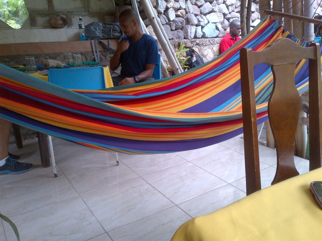 Hammock and hikers resting at RafJam Bed and Breakfast