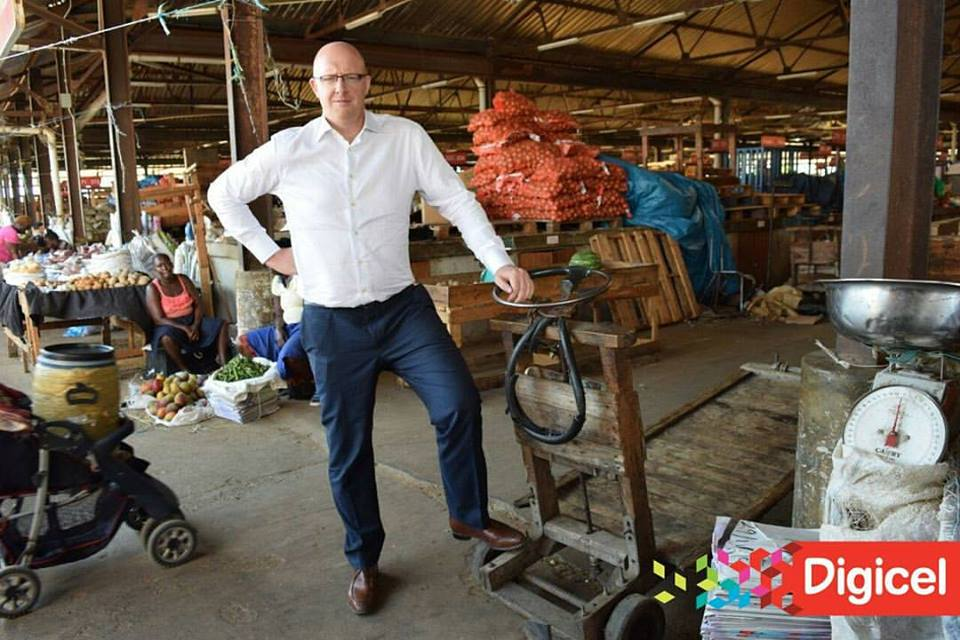 Digicel CEO , David Butler in Coronation Market, Downtown